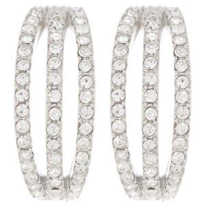 CAROLEE CZ SMALL  SILVER-TONE HOOP EARRINGS